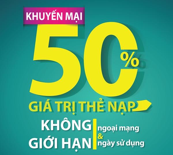 Viettel khuyến mại 50% giá trị thẻ nạp ngày hôm nay