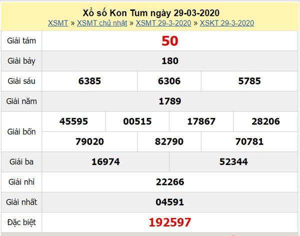 Thống kê XSKT 26/4/2020 - KQXS Kon Tum hôm nay