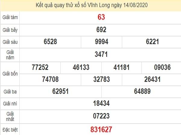 Quay thử xổ số Vĩnh Long ngày 14 tháng 8 năm 2020